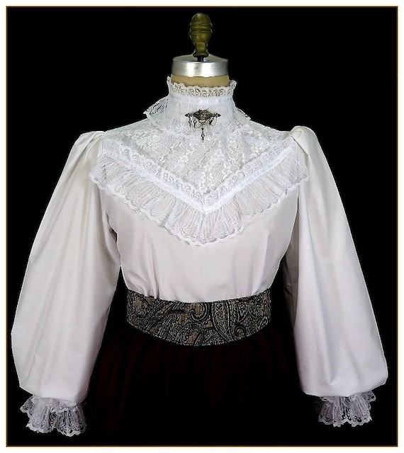 Victorian Blouses, Tops, Shirts, Vests  Lace Broadcloth Victorian Blouse $92.00 AT vintagedancer.com