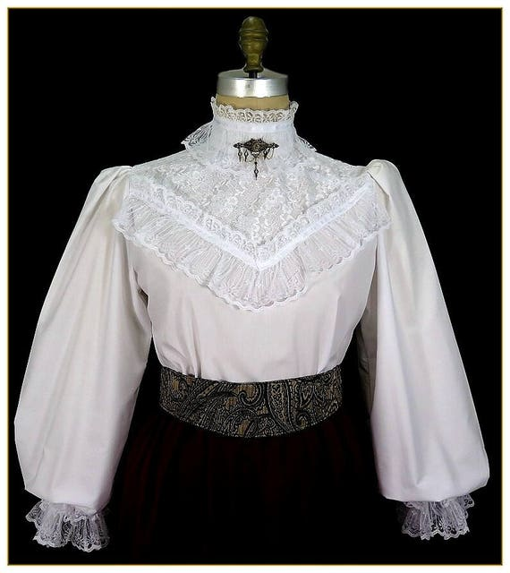 Edwardian Blouses | White & Black Lace Blouses & Sweaters  Lace Broadcloth Victorian Blouse $92.00 AT vintagedancer.com