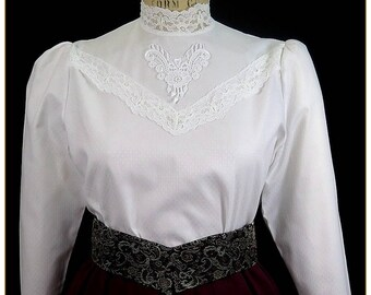Edwardian Lace Cotton Blouse