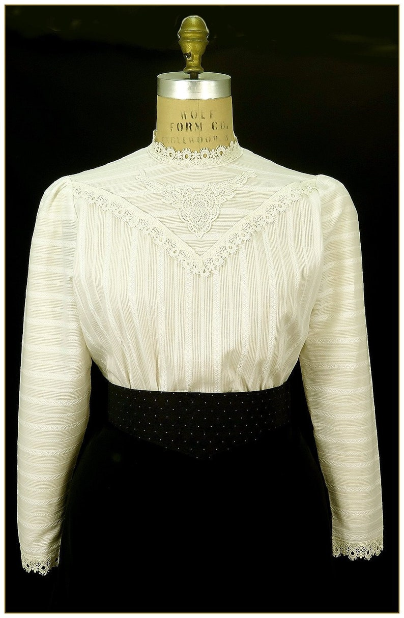 Edwardian Blouses | White & Black Lace Blouses & Sweaters Edwardian Ivory Stripe Cotton Blouse $62.00 AT vintagedancer.com