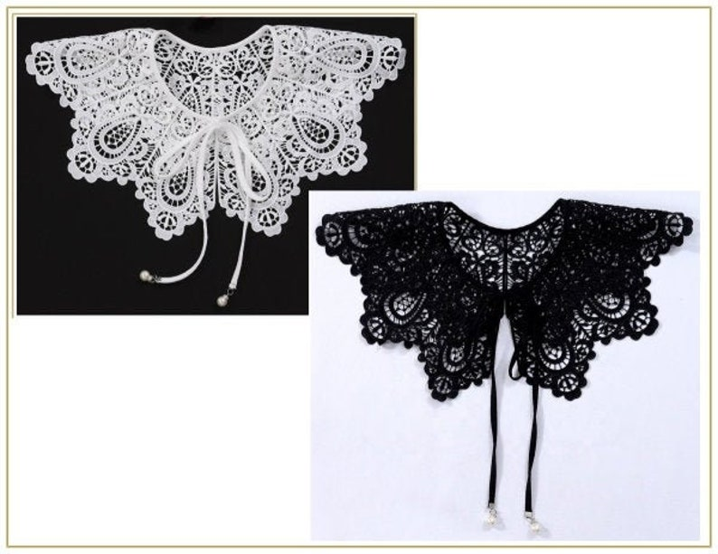 Victorian Dresses | Victorian Ballgowns | Victorian Clothing Scalloped Lace Collar Choose White or Black $16.00 AT vintagedancer.com