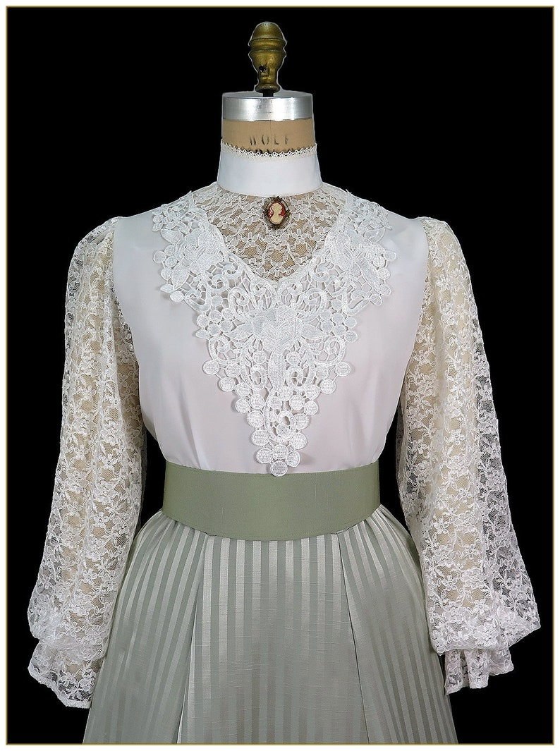 Victorian Blouses, Tops, Shirts, Sweaters Victorian Antique White Peachskin & Lace Blouse $89.00 AT vintagedancer.com