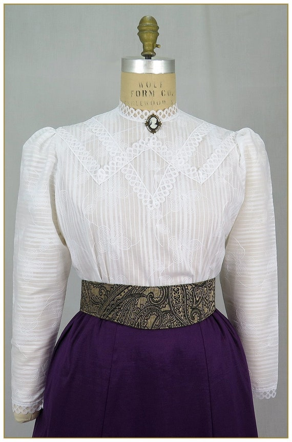 Edwardian Ladies Clothing – 1900, 1910s, Titanic Era  Embroidered Tone on Tone Stripe Lace Cotton Blouse Premier Victorian $59.00 AT vintagedancer.com
