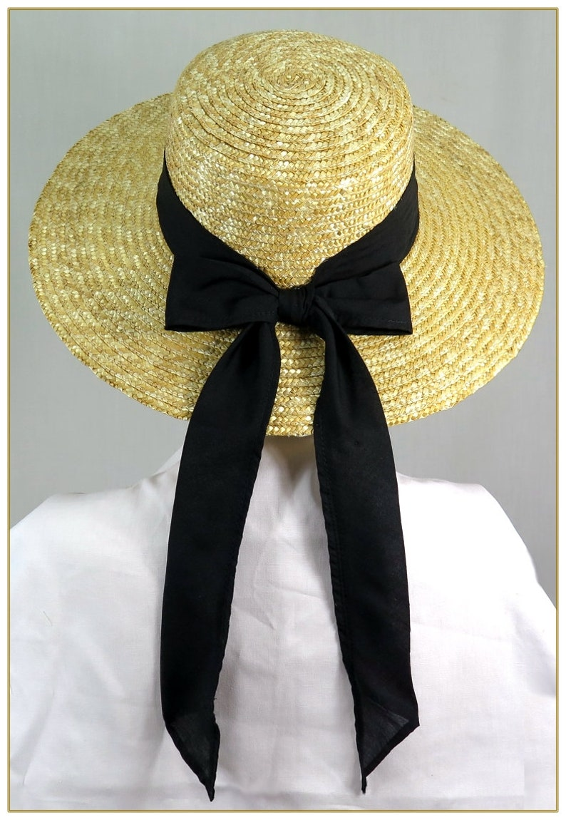 Victorian Hat History | Bonnets, Hats, Caps 1830-1890s Flat Top Natural Sewn Braid Straw Hat $39.00 AT vintagedancer.com