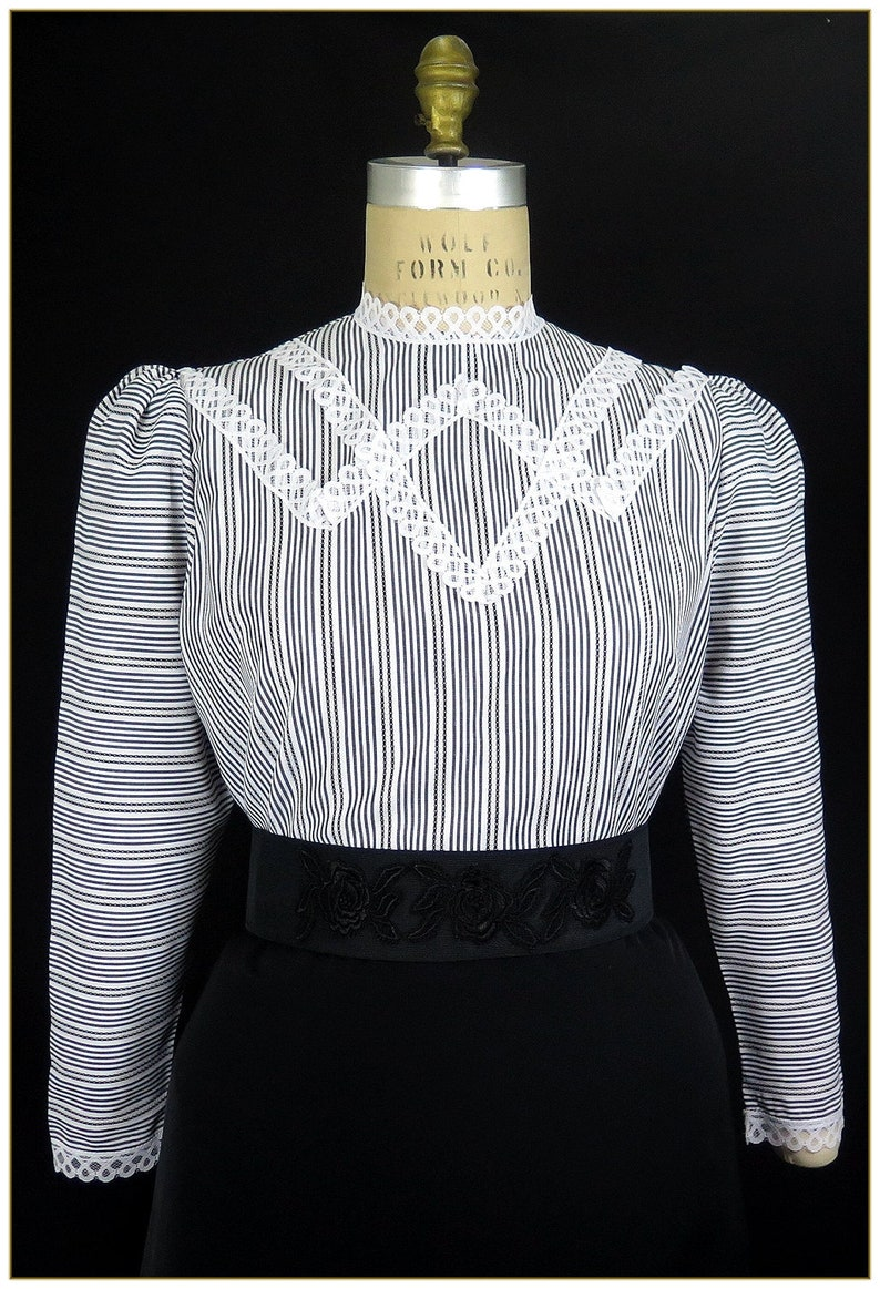 Victorian Blouses, Tops, Shirts, Sweaters Edwardian Black & White Stripe Broadcloth Blouse $59.00 AT vintagedancer.com