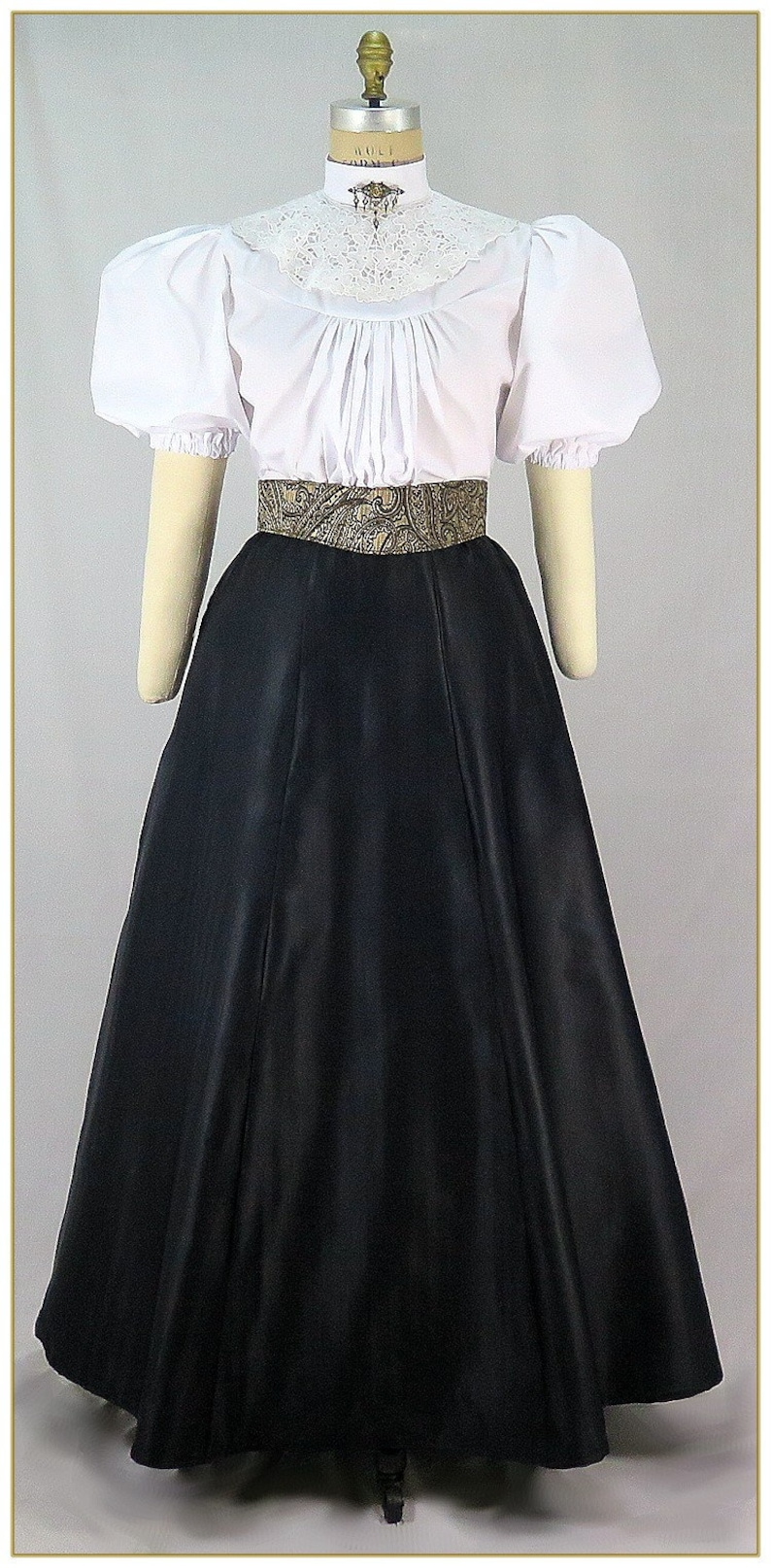 Victorian Skirts | Bustle, Walking, Edwardian Skirts Victorian Black Herringbone Weave Taffeta Skirt $59.00 AT vintagedancer.com