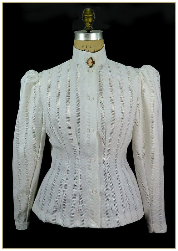 Edwardian Ladies Clothing – 1900, 1910s, Titanic Era  Victorian Stripe Honeycombed Blouse Premier Victorian $49.00 AT vintagedancer.com