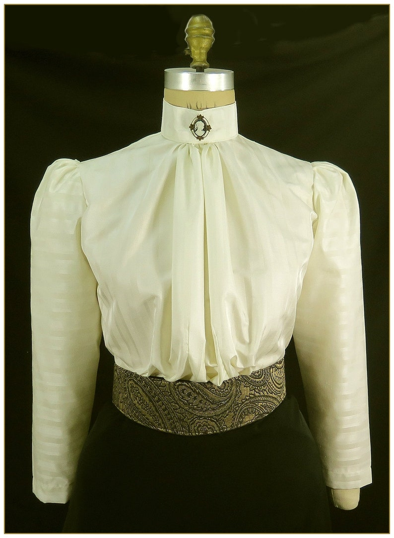 Edwardian Blouses |  Lace Blouses & Sweaters Victorian Ivory Stripe Tone on Tone Blouse $59.00 AT vintagedancer.com
