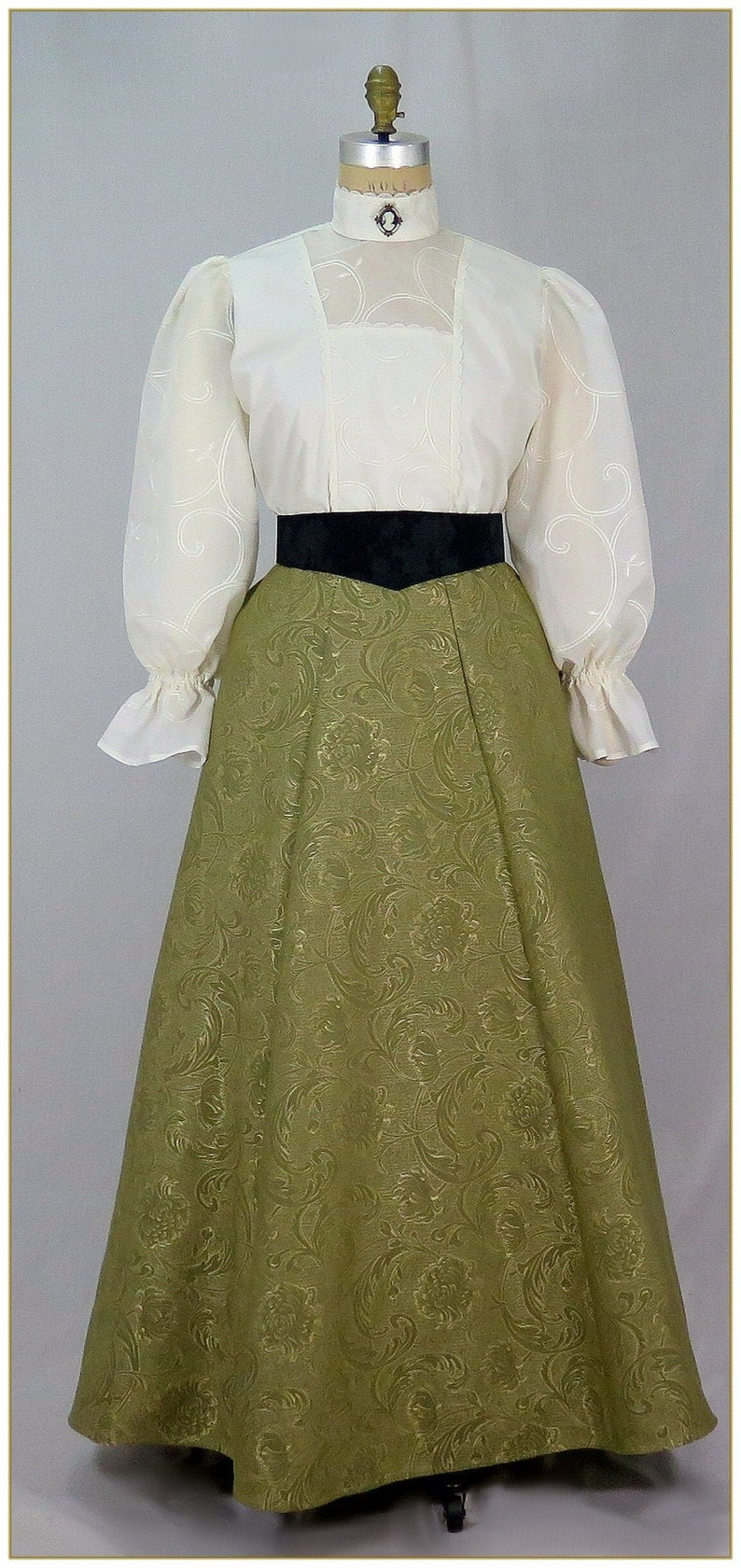 Make an Easy Victorian Costume Dress with a Skirt and Blouse Edwardian Olive Brocade Skirt $65.00 AT vintagedancer.com