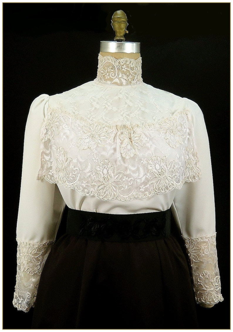 Edwardian Blouses | White & Black Lace Blouses & Sweaters Victorian Scallop Lace Blouse $79.00 AT vintagedancer.com