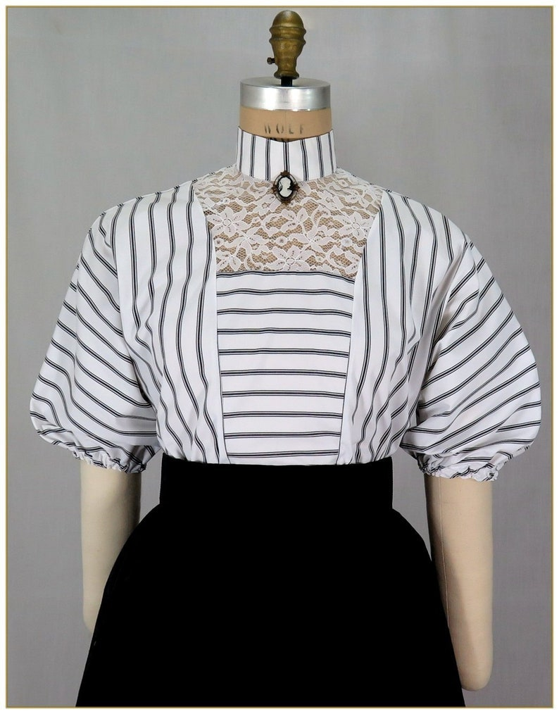 1890s-1900s Fashion, Clothing, Costumes Edwardian Black and White Stripe Lace Blouse $65.00 AT vintagedancer.com
