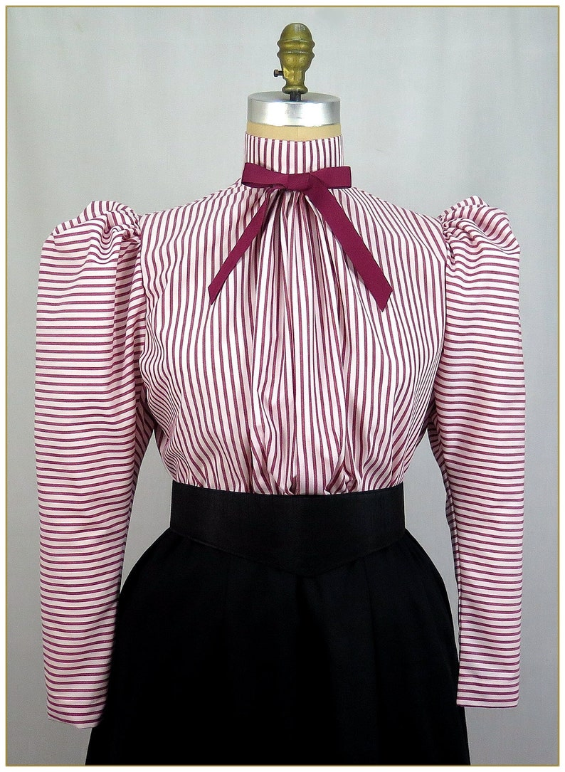 Edwardian Blouses | White & Black Lace Blouses & Sweaters Victorian Red & White Stripe Blouse $59.99 AT vintagedancer.com