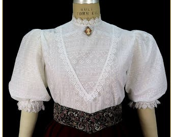 Embroidered Stripe Victorian Blouse