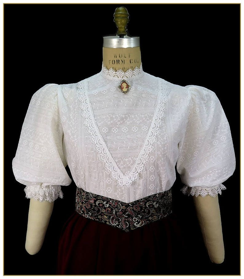 Victorian Plus Size Dresses | Edwardian Clothing, Costumes 1900-1915 Embroidered Stripe Victorian Blouse $92.00 AT vintagedancer.com