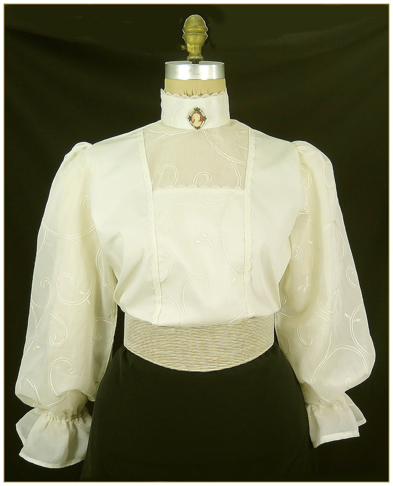Victorian Blouses, Tops, Shirts, Sweaters Victorian Ivory Embroidered Swirl Blouse $68.00 AT vintagedancer.com