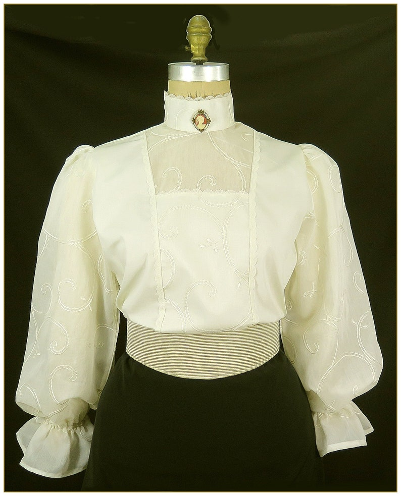 Victorian Clothing, Costumes & 1800s Fashion Victorian Ivory Embroidered Swirl Blouse $68.00 AT vintagedancer.com