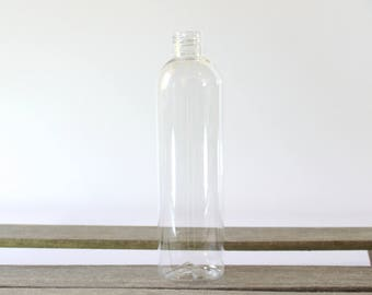 8oz Clear Plastic Bottle, Bullet Bottle Plastic Container - Choose your Lid! Good for shampoo, conditioner, lotion, oil, homemade cleaners.