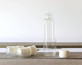 2oz Clear Plastic Bottle, Bullet Bottle Plastic Container - Choose your Lid! Good for shampoo, conditioner, lotion, oil and travel liquids.