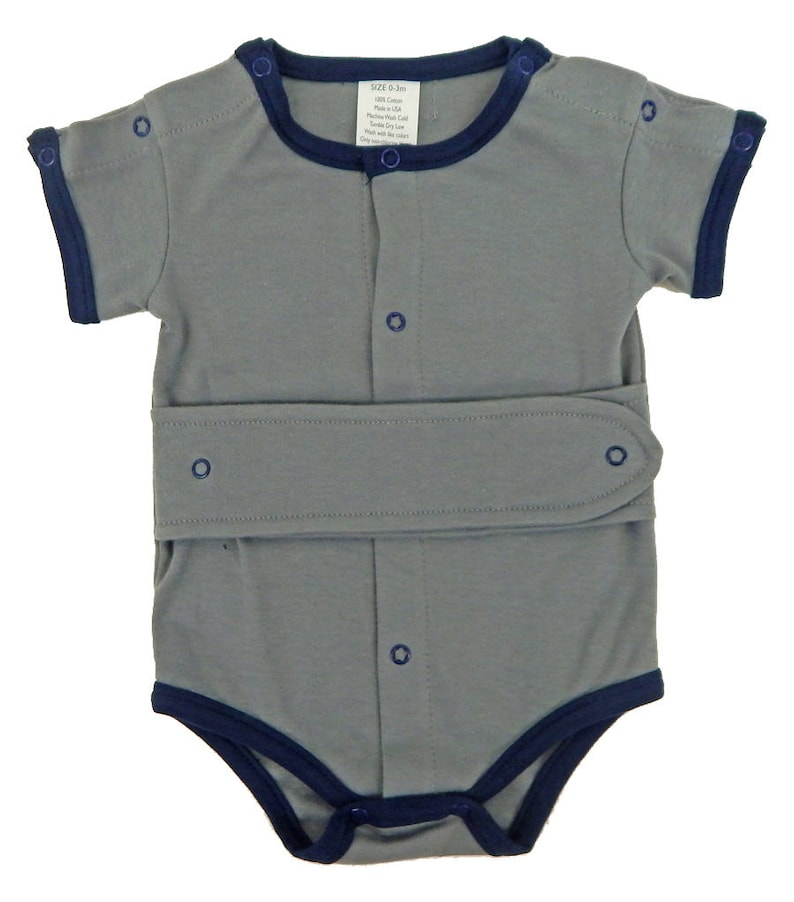 39ea3ac324eee Medical and G-Tube One-Piece Bodysuit Boys/Steel Grey & Navy | Etsy