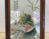 Vintage Chinese 4 Finely Hand Painted Porcelain 9.5 quot x 12-3 4 quot Panels Mounted in Hardwood Frames.