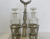 Vintage European Sterling Silver Crystal Footed Cruet Set.