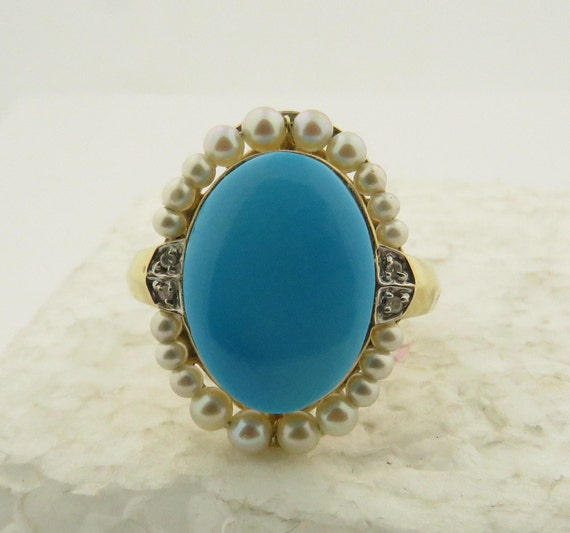Vintage 14 kt Gold Oval Cabochon Natural Blue Turquoise Pearl  8a851f3ccfe8a