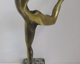 "Vintage Signed TONNY, Modern Bronze ""Dancer"" on Stone Base by Brazilian Artist."