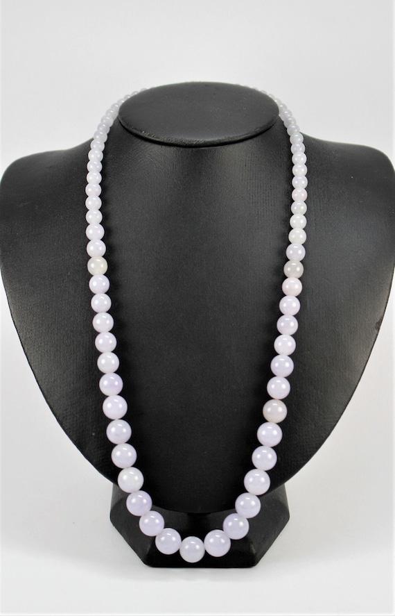Vintage Lavender Jade Beaded Necklace