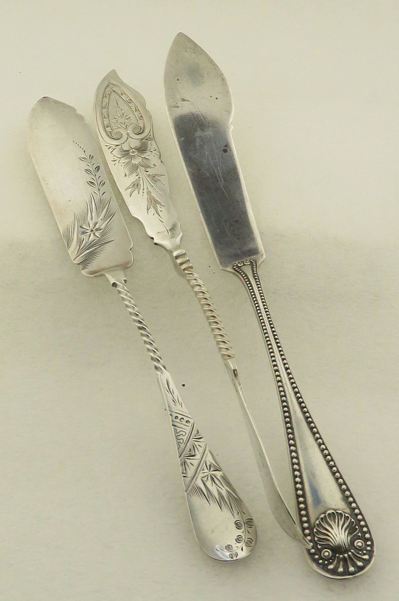 Antique 3 Sterling Silver Master Butter Knives.