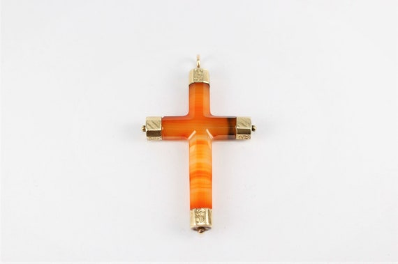 Antique Victorian Gold Agate Scottish Cross Pendan