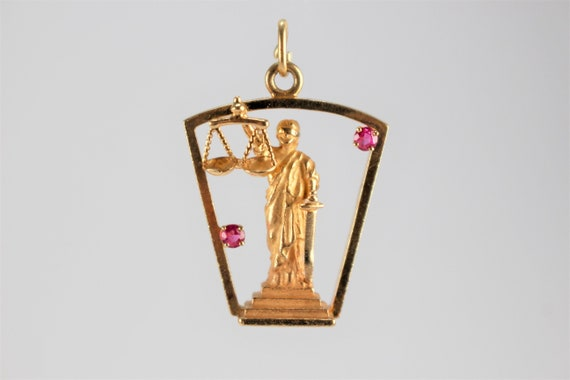 Antique Gold Libra Ruby Charm Pendant