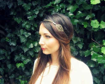 "Marriage headband ""Luce"" metal, chain sheets and pearls unbleached"