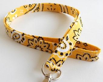 Bandana Lanyard / Yellow Bandanna / Western Keychain / Cute Lanyards / Key Lanyard / ID Badge Holder / Fabric Lanyard / ID Lanyard / Paisley