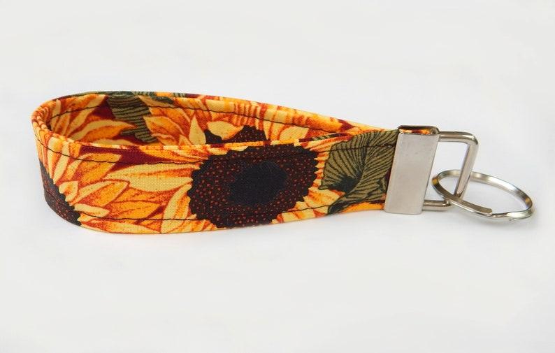 Autumn Wrist Keychain Fall Floral Wristlet Lanyard Sunflower Key Fob