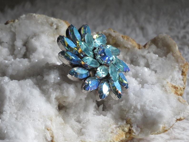 RHINESTONE BROOCH Vintage Brooch Teal Baby Blue Rhinestones Flowers Wiess Bridal Jewelry Signed Vintage Jewelry Signed Weiss Brooch