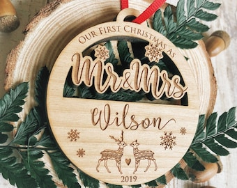 Personalized Christmas Ornament 2020 Our First Christmas Ornaments Personalized, Newlywed Ornament,Just Married Ornament,Mr & Mrs Ornament