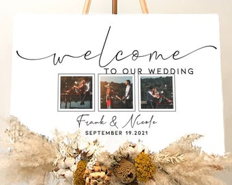 Custom Wedding Sign With Photo - Rustic Wedding Welcome Sign Alternative - Baby Shower Sign - Bridal Shower Sign - Party Welcome Sign