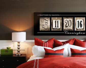WEDDING DATE ART -  Wedding Date Numbers, Personalized Wedding Gift Idea, Wedding Date Frame, Christmas Gift - Gallery Wrapped Canvas -fd