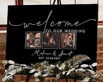 Custom Wedding Sign With Photo - Rustic Wedding Welcome Sign Alternative - Sign Painted On Canvas - Bridal Shower Sign - Photo Welcome Sign