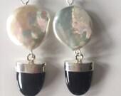 Coin Pearl Black Tourmaline Dangle Earrings in Sterling Silver.