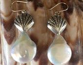 Dangle Earrings Sterling Silver Sea Shells Freshwater Coin Pearls. Silver Earwires
