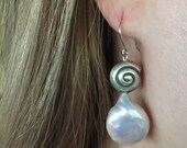 Sterling Silver Dangle Earrings Snail Shell White Coin Pearls