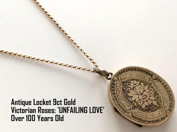 Antique Victorian 9ct Gold Mourning Locket Necklace 9k Gold Etsy
