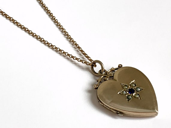 Antique Gold Heart Locket Necklace, Victorian Hear