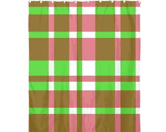 Christmas Holiday Red Green Plaid Shower Curtain 72x60 Home Decor Bathroom