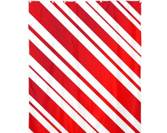 Shower Curtain 72x60 Red Candy Cane Gradient