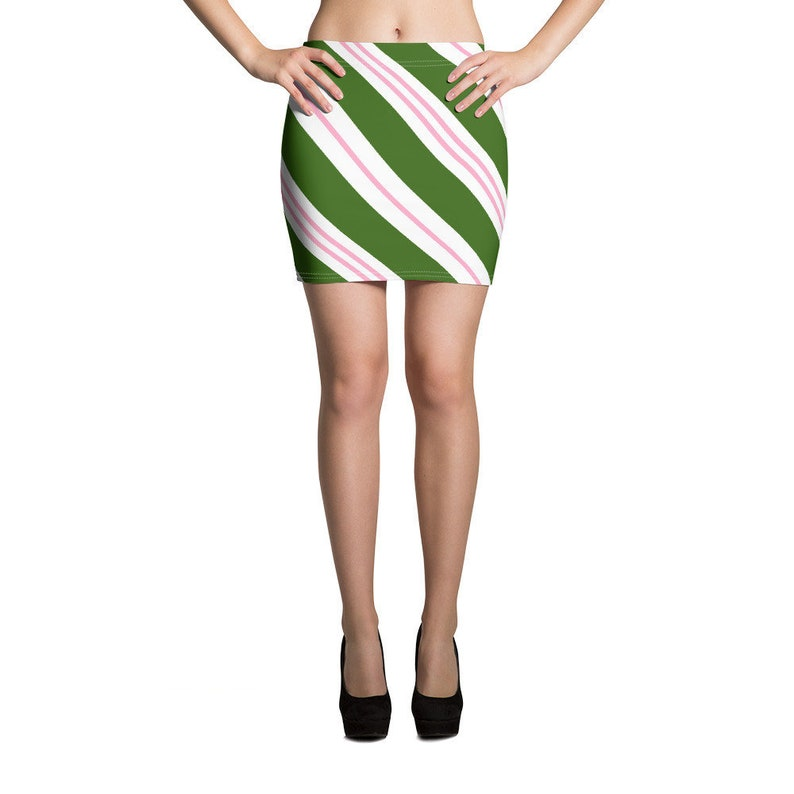 Sizes XS-XL Christmas Candy Cane Skirt Green Pink Candy Cane Mini Skirt Ugly Christmas Skirt
