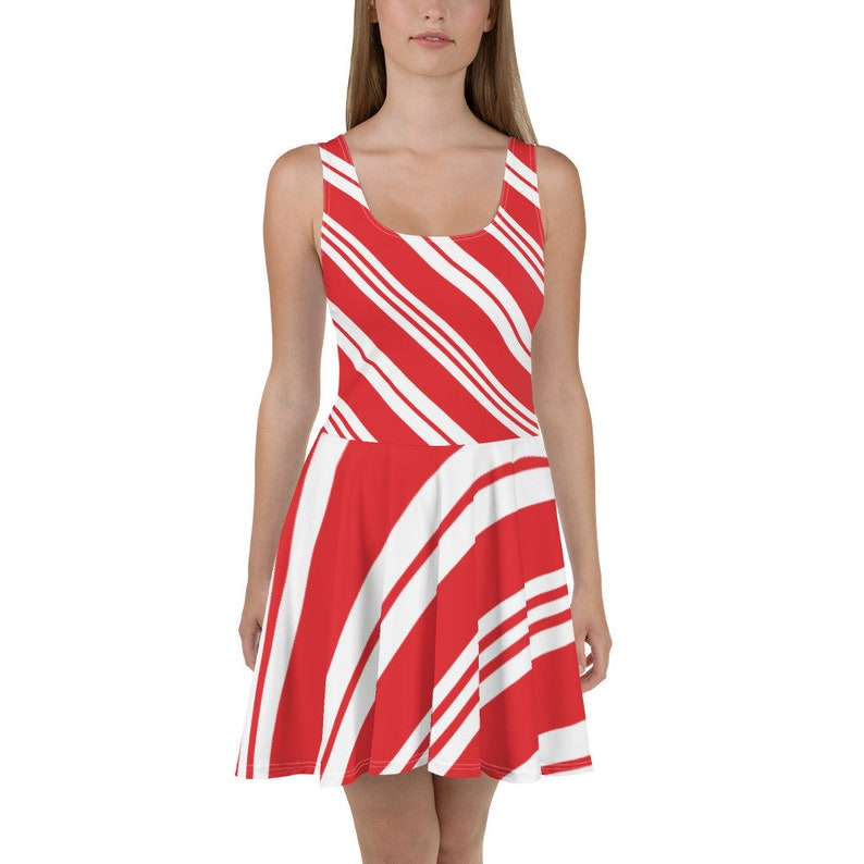 Candy Cane Skater Dress Red White Striped Holiday Outfit Sizes XS-3XL Christmas Party Dress