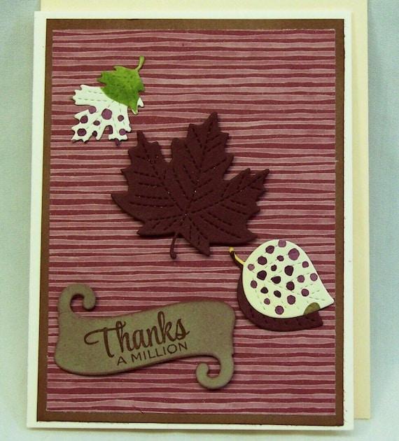 Handmade Greeting Card Thank You Autumn Greeting Card