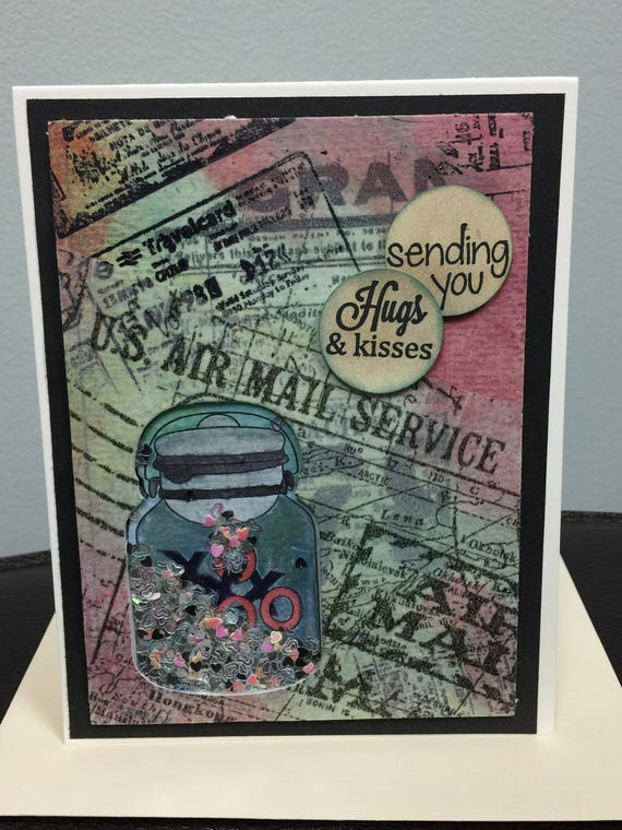 Air Mail Shaker Handmade Greeting Card